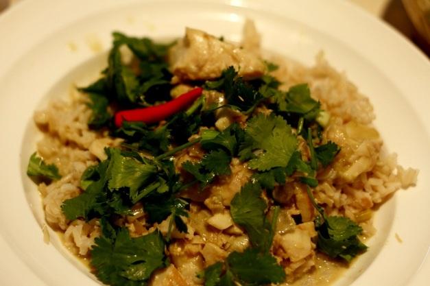 Gotujemy po tajsku - ryba po tajsku w zielonym curry z mleczkiem kokosowym i ryżem jaśminowym