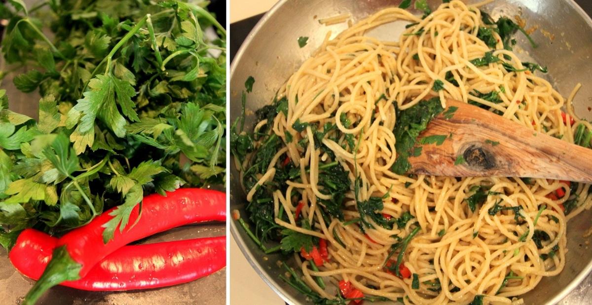 Spaghetti aglio, olio, peperoncino z natką pietruszki i czarnymi oliwkami